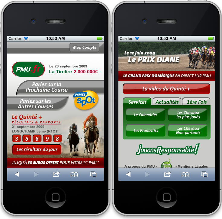 Présentation Pmu mobile page